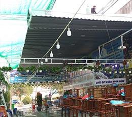 Dự án lắp đặt mái xếp di động cho nhà hàng hải sản quận 1