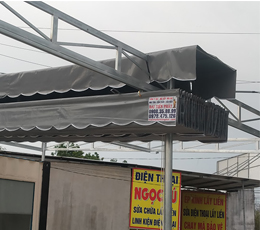 Lắp đặt mái hiên xếp di động che cho nhà ở container quận 8 tphcm